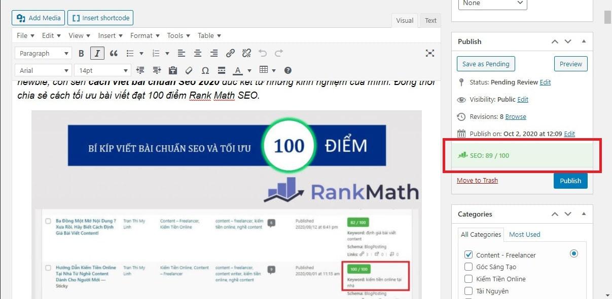 Tối ưu SEO bài viết 100 điểm Rank Math SEO